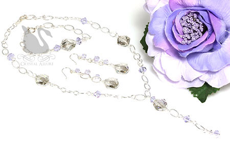 Courtney's Custom Lavender Crystal Prom Jewelry Set (NC136, E298, B214)