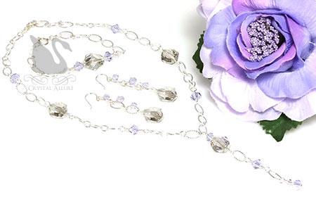 Courtney's Custom Lavender Crystal Prom Jewelry Set (NC136, E298, B214)