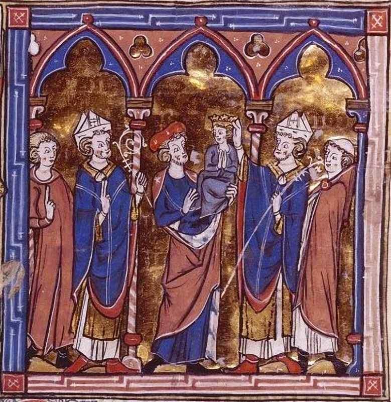 Balian de Ibelin, carregando o jovem rei Balduino V.