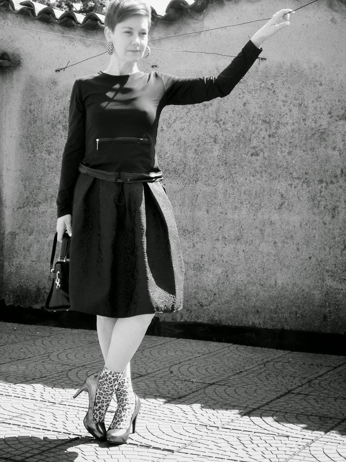 Black Midi Skirt, Black Top, Silver Heels & Leopard Socks    When Black Meets Silver - Spring Midi Skirt Love   Funky Jungle, fashion and personal style blog