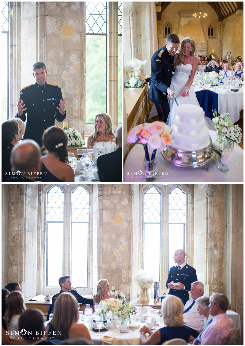 St Donat's Castle wedding speeches and cake