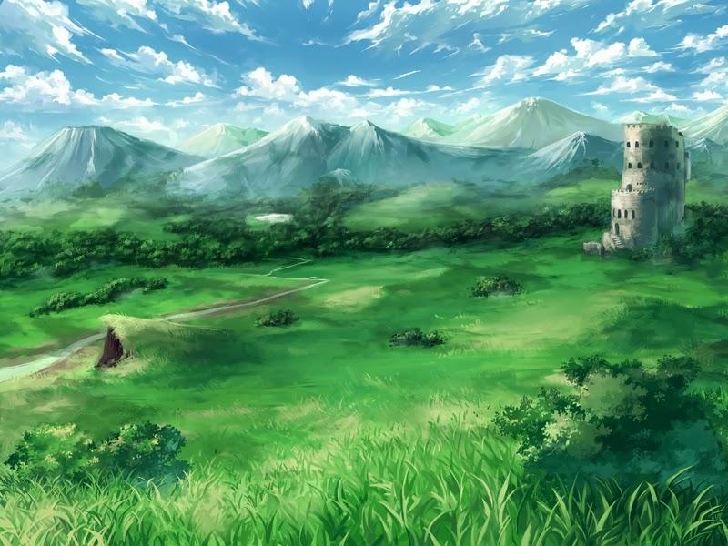 anime landscape castle anime background