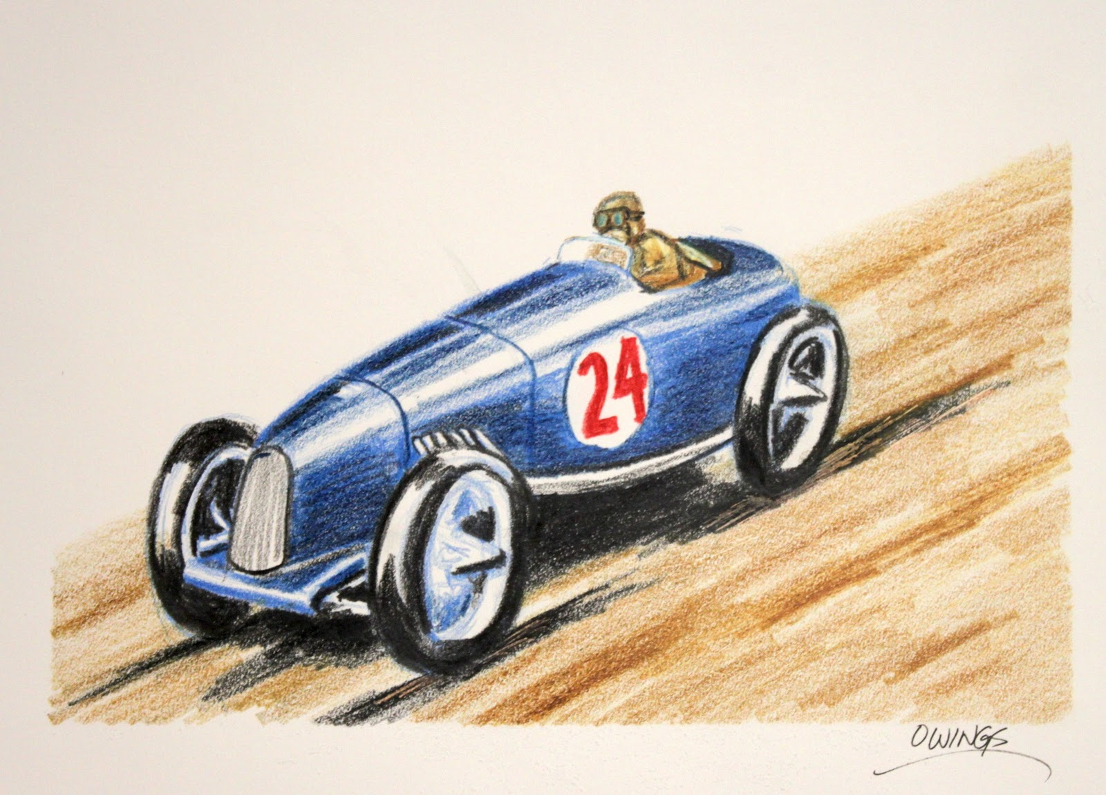 Race car colored pencil drawing