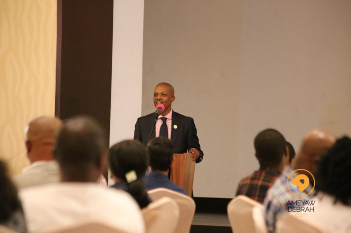 TV3 CEO, Ray Nkew addressing business and media partners at screening