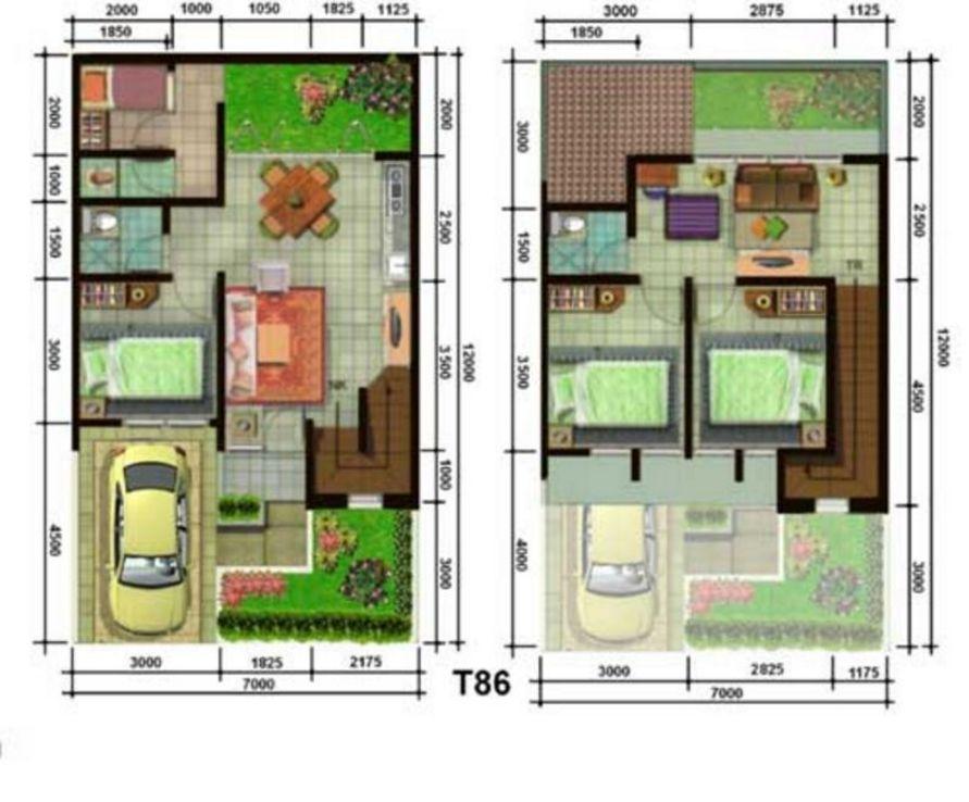 layout denah 2 lantai 7x12 idaman