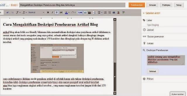 Cara Mengaktifkan Deskripsi Penelusuran Artikel Blog