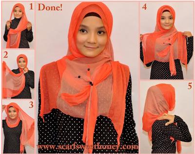 Cara Memakai Jilbab Betty Bow Style