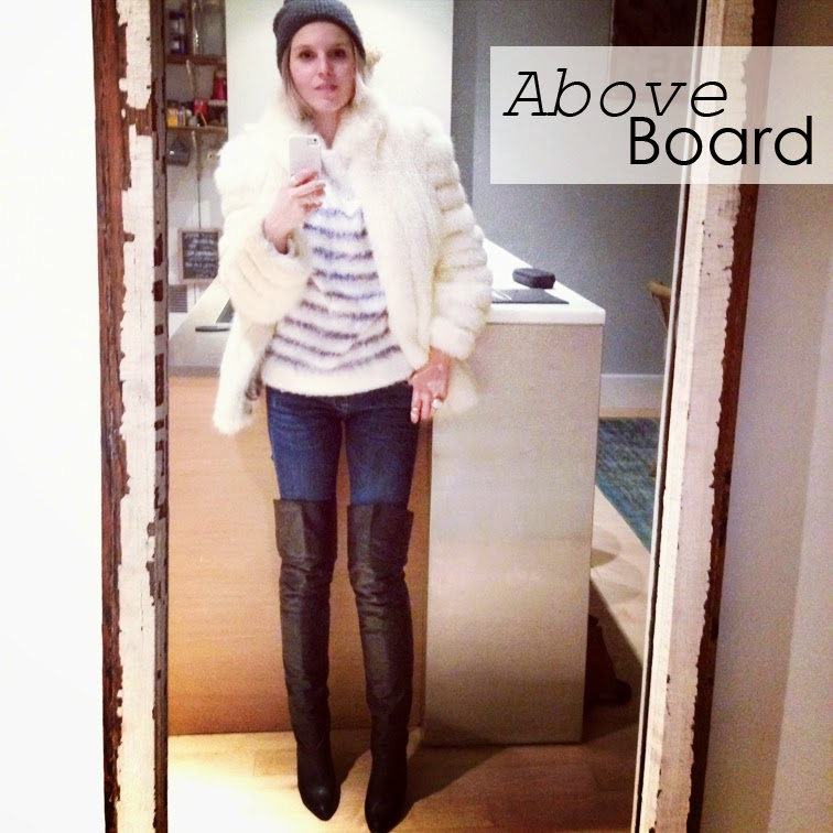 Fashion Over Reason Selfie, H&M oversized fluffy striped sweater, vintage white fur, Zara denim, Over-the-knee thigh high boots, Gap knit pompom hat