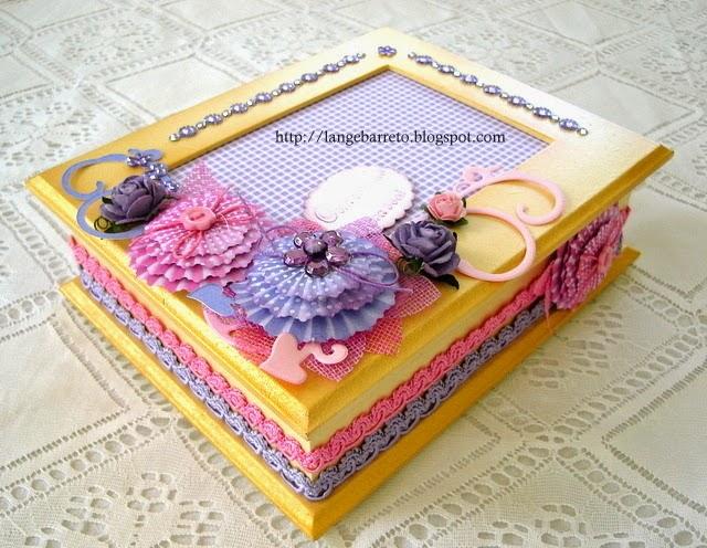 Caixa MDF rosa - lilas