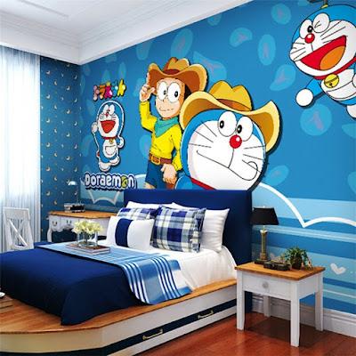 Wallpaper Dinding Kamar Tidur Anak Doraemon