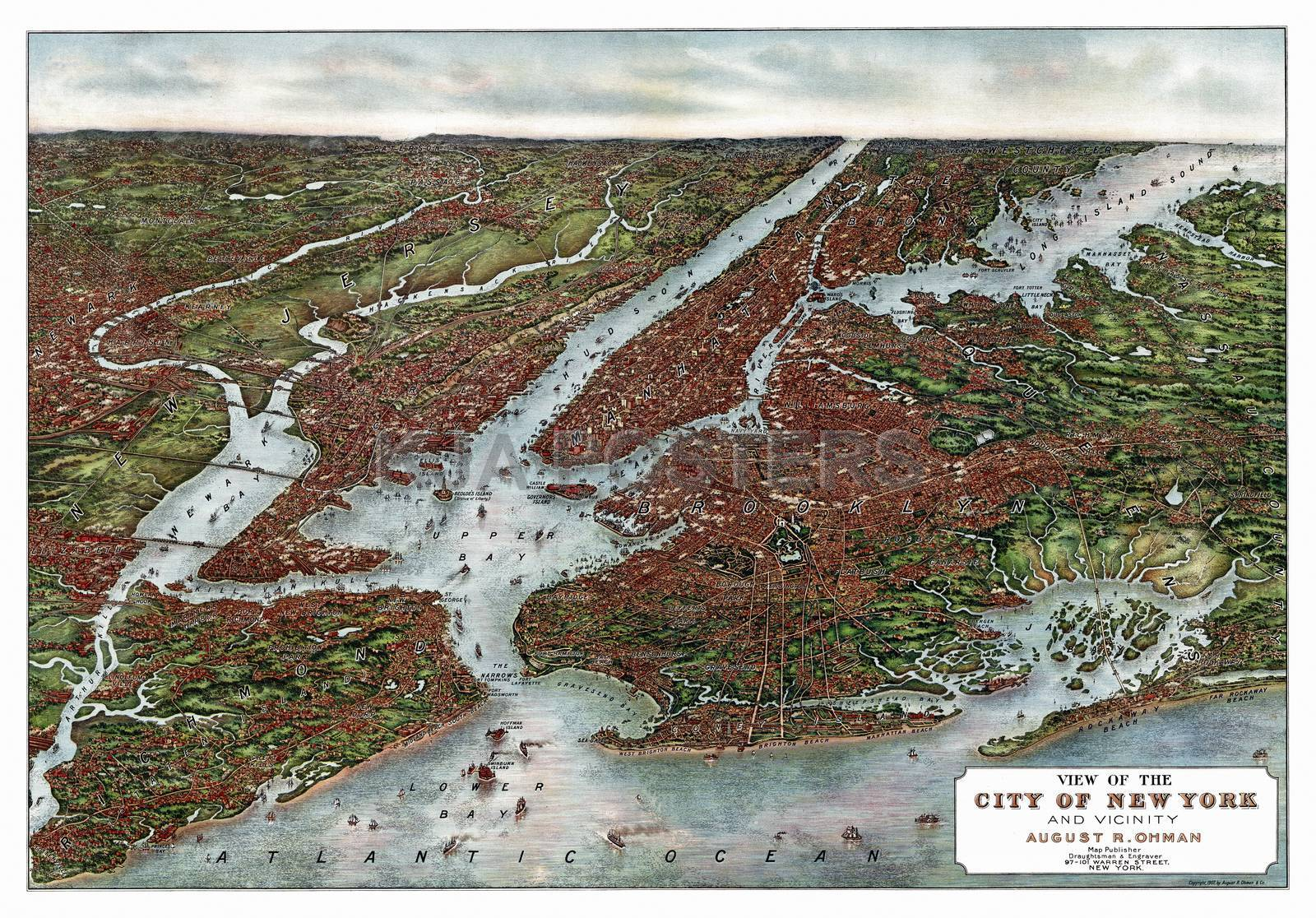 bird's eye view map of nyc