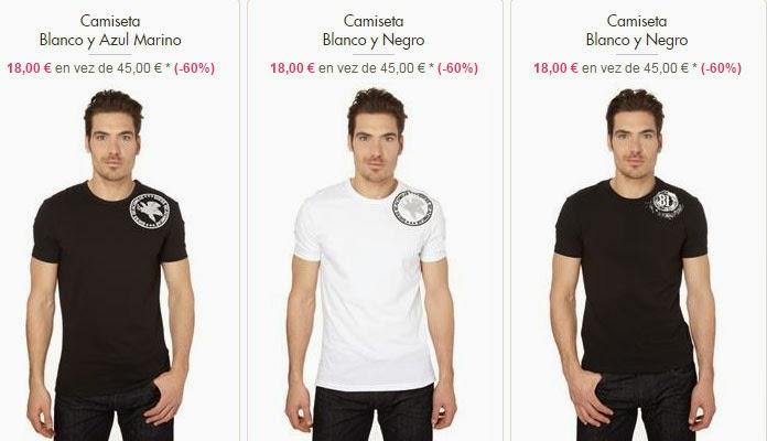 Ejemplos de camisetas de manga corta de Guess