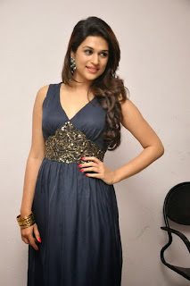 Actress Shraddha Das Pictures in Long Dress at Rey Movie Trailer Launch 0075.jpg