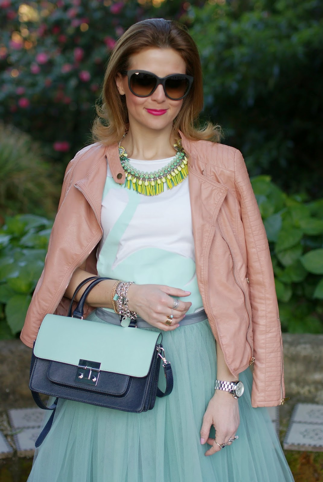 Outfits, tulle skirt, mint tulle skirt, Sodini bijoux necklace, Rose a Pois, Fashion and Cookies, fashion blogger