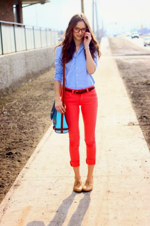 Light Blue Button-Down Shirt And Red Pent