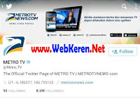 @Metro_TV, Akun twitter media terlevisi nasional Indonesia 2016 dengan jumlah followers terbanyak