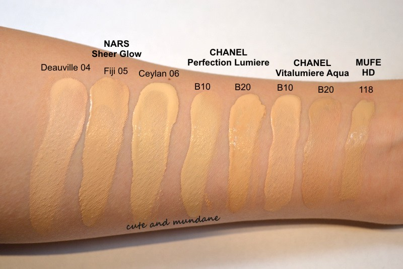 Cute And Mundane Foundation Swatches Nars Chanel And Mufe