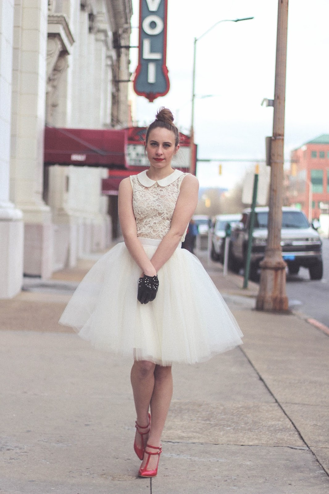Tulle Skirt, Lace Peter Pan Collar Top, Red Heels, Romantic, Whimsical, Fashion Blogger, Ballerina, Movies, Ballet, The Red Shoes, Movie Blogger