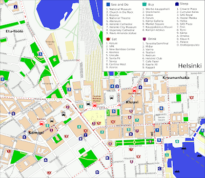 Mapa do centro de Helsinque