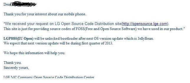 LG Optimus 4X HD Jelly Bean Update e-mail