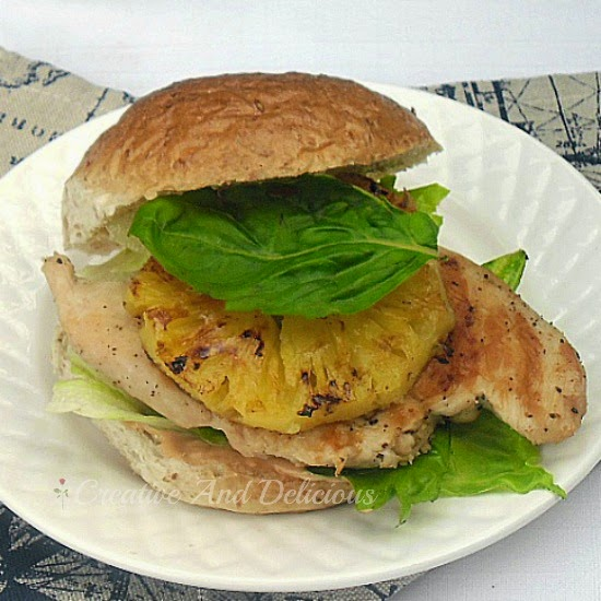 Lime and Pineapple Chicken Burger ~ Grilled Pineapple and Chicken on a burger is a winner with 1000 Island Dressing instead of a rich mayo sauce #ChickenBurger #Healthy #LowFat