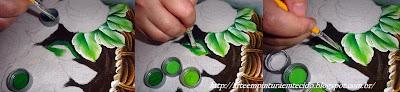 pintura em tecido como fazer cesta de rosas