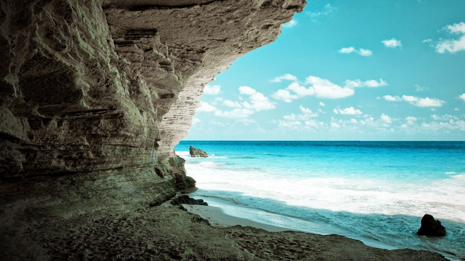 Full HD Widescreen Beach Cave Nature Backgrounds Images Wallpapers