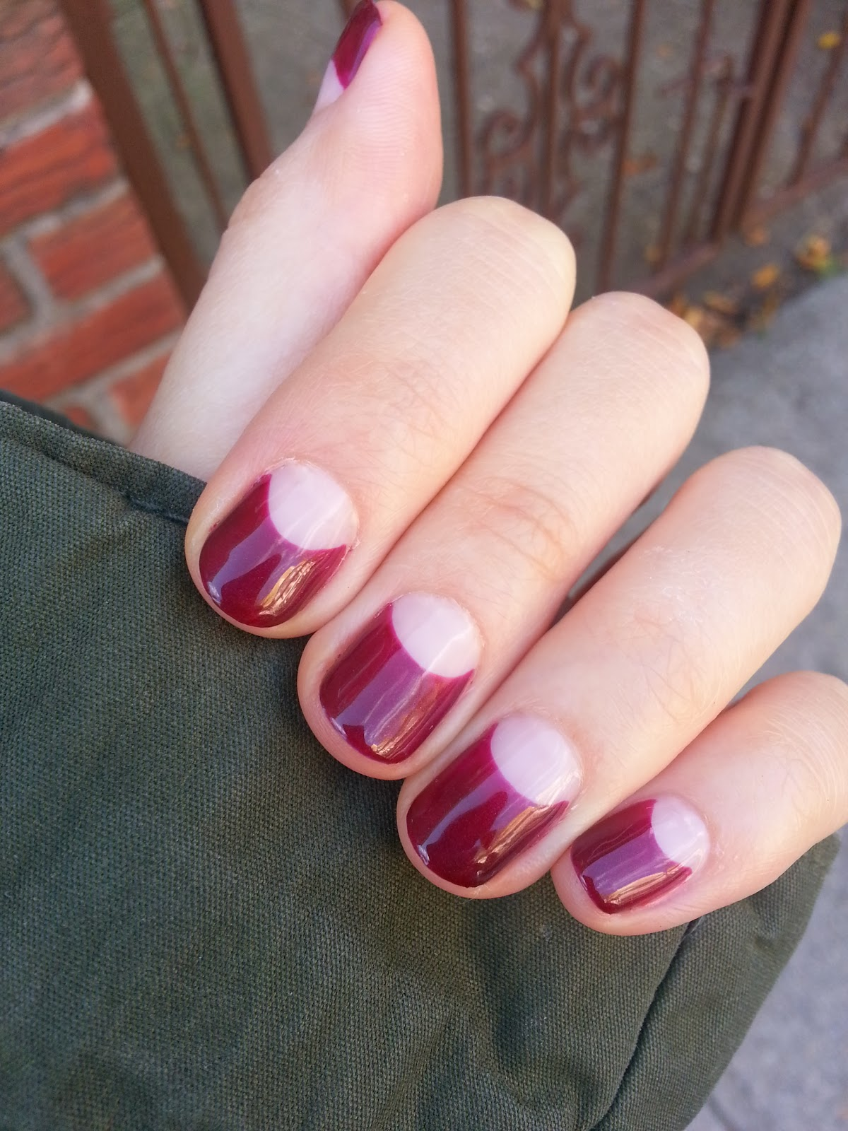Gel nail art NYC 033 - Half moon wine color deep french | (example ...
