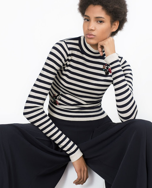 zara striped jumper, jewelled stripe jumper,