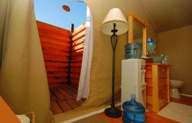 Private washroom with an outdoor shower at Long Point Eco Adventures
