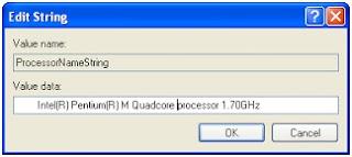 Cara mengganti / mengubah nama processor di System Properties menjadi Quadcore
