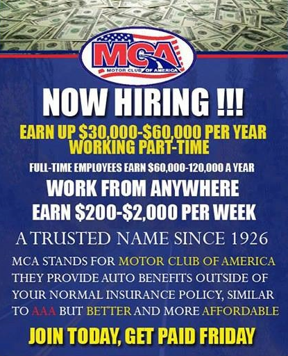 Motor club of america is hiring for Mca motor club of america scam