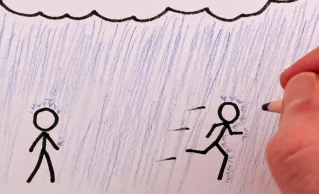 Alergare prin ploaia torentiala din Timisoara. Inundatii cu endorfine. Desen