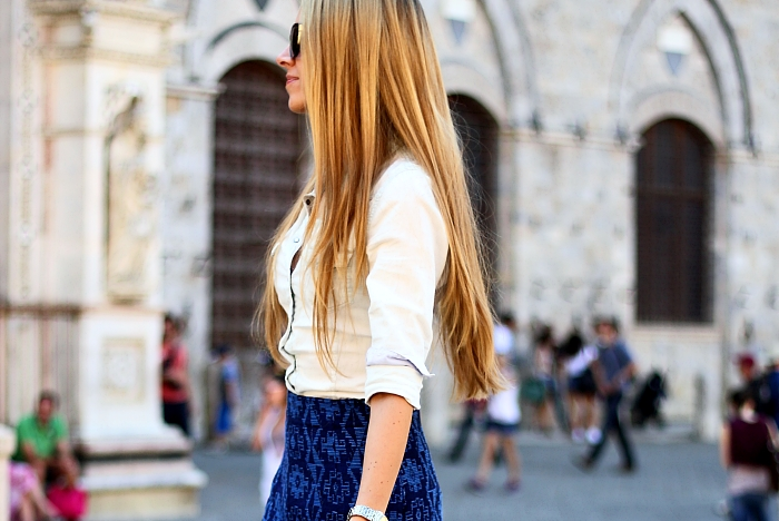 blue Zara skirt, Zara bag, denim shirt