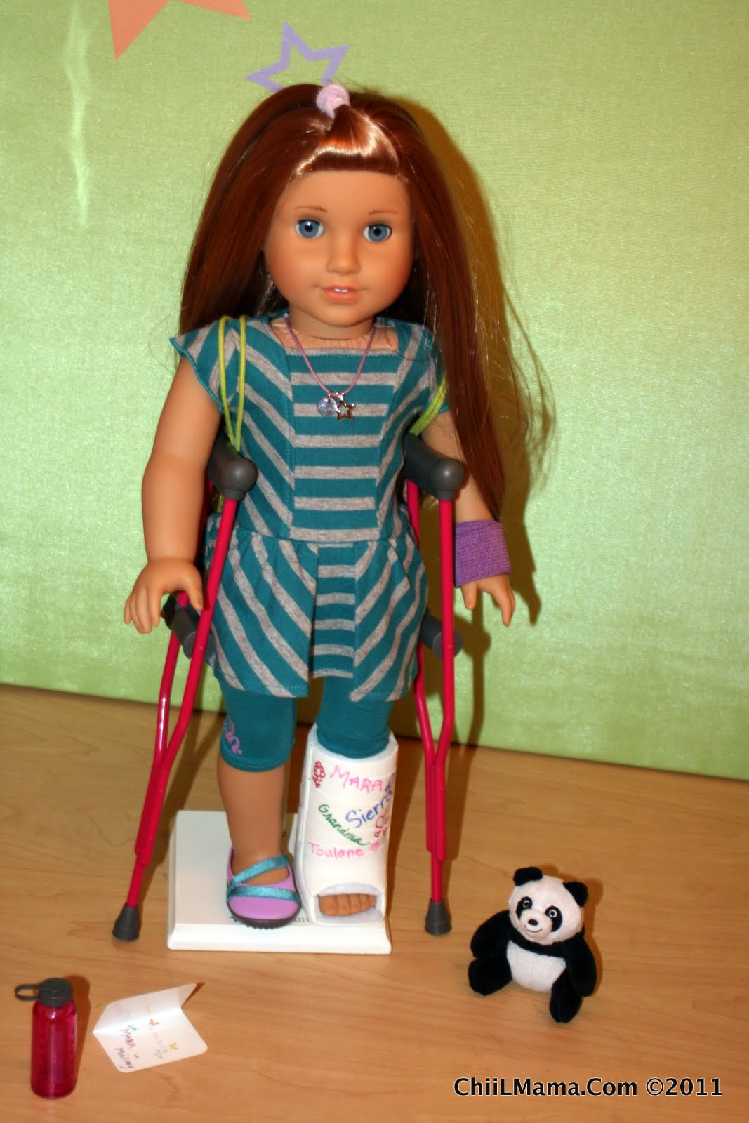 Doll Leg Cast http://www.chiilmama.com/2012/01/welcome-mckenna-american-girl-doll-of.html