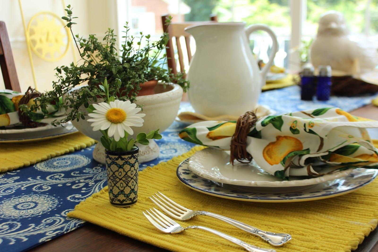 With Warm Yellows And Cool Blues Was The Perfect Table Setting For A  Mediterranean Style Summer Dinner With Friends.