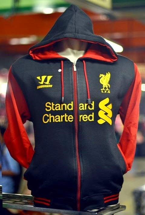 Zipper Hoodie Bola Liverpool Black Red