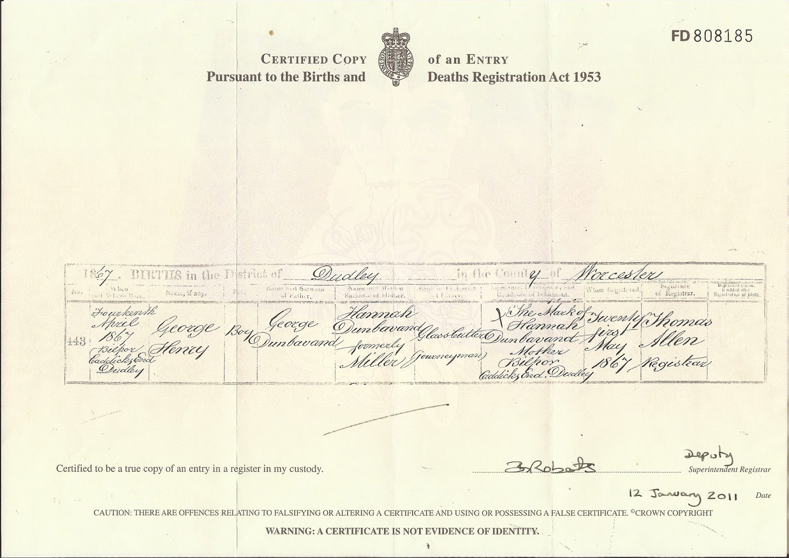 The werditone pages october 2015 george henry dunbavand birth certificate aiddatafo Choice Image