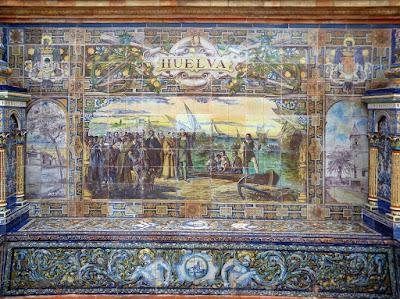 Plaza de España - Sevilla - Azulejo de Huelva - Tríptico y base del banco