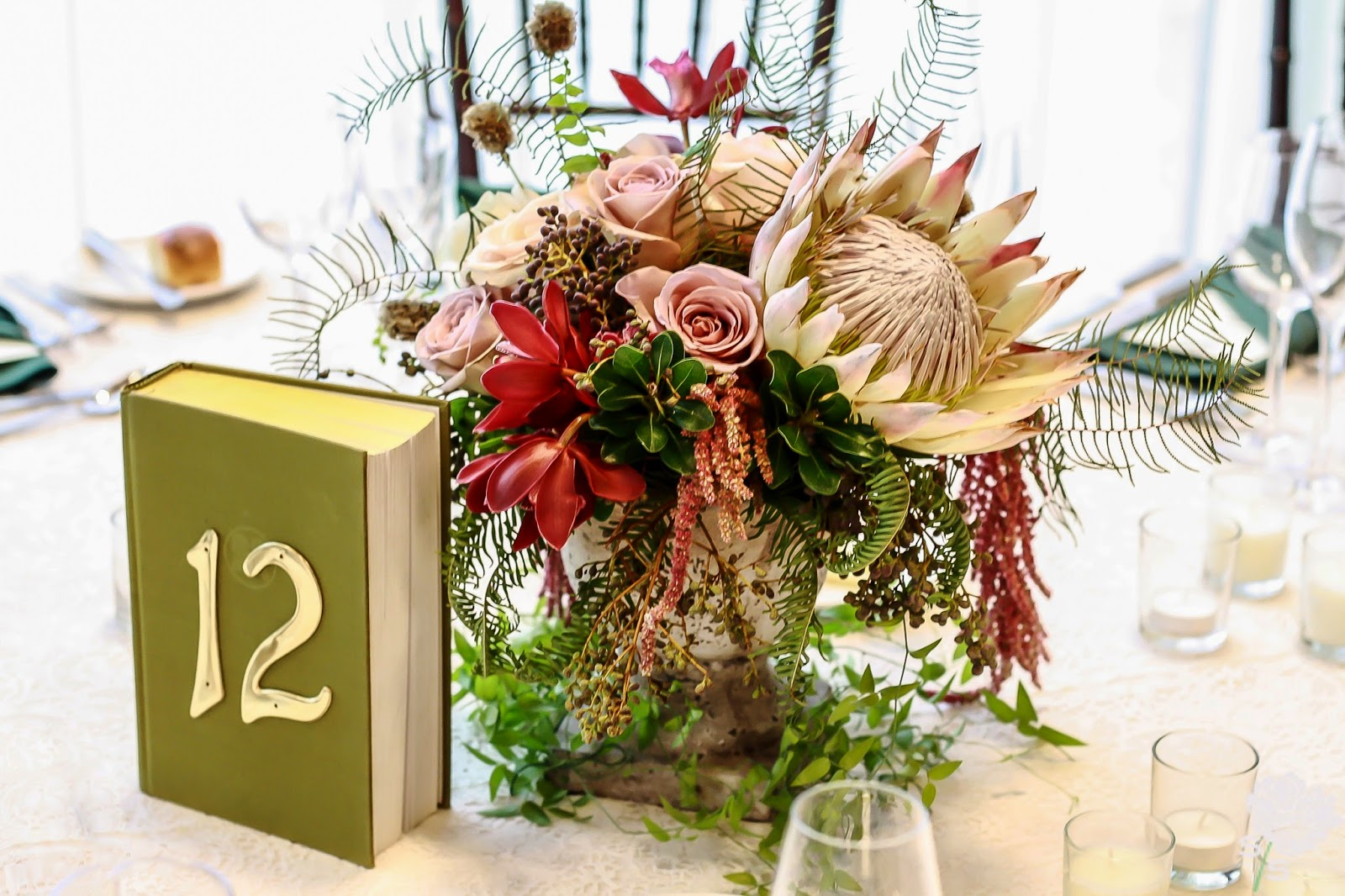 The Roundhouse Wedding - Beacon, NY - Hudson Valley Wedding - Table Centerpiece - Protea, Orchid, Amaranthus - Wedding Flowers - Splendid Stems Floral Designs