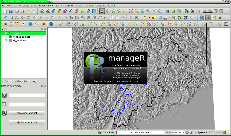 Ator manager a usefull plugin for qgis at first sight manager is a simple gui that includes r command line some toolbars for managing data graphic devices history etc and several buttons to ccuart Images
