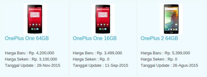 Daftar Harga Hp OnePLus Desember 2015