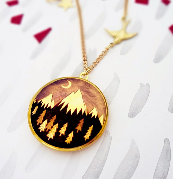 Always Over the Mountain Locket in Gold - Bonbi Forest - 25% Off Easter Sale