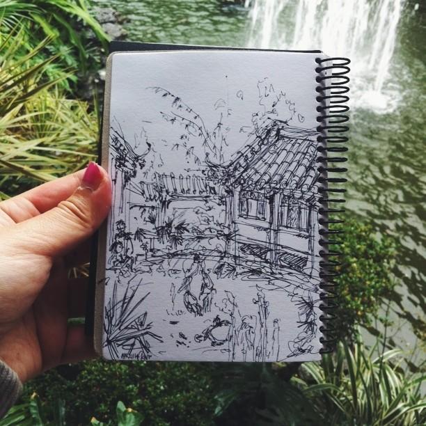 Kitty N. Wong / Nan Yuan sketchbook pen drawing