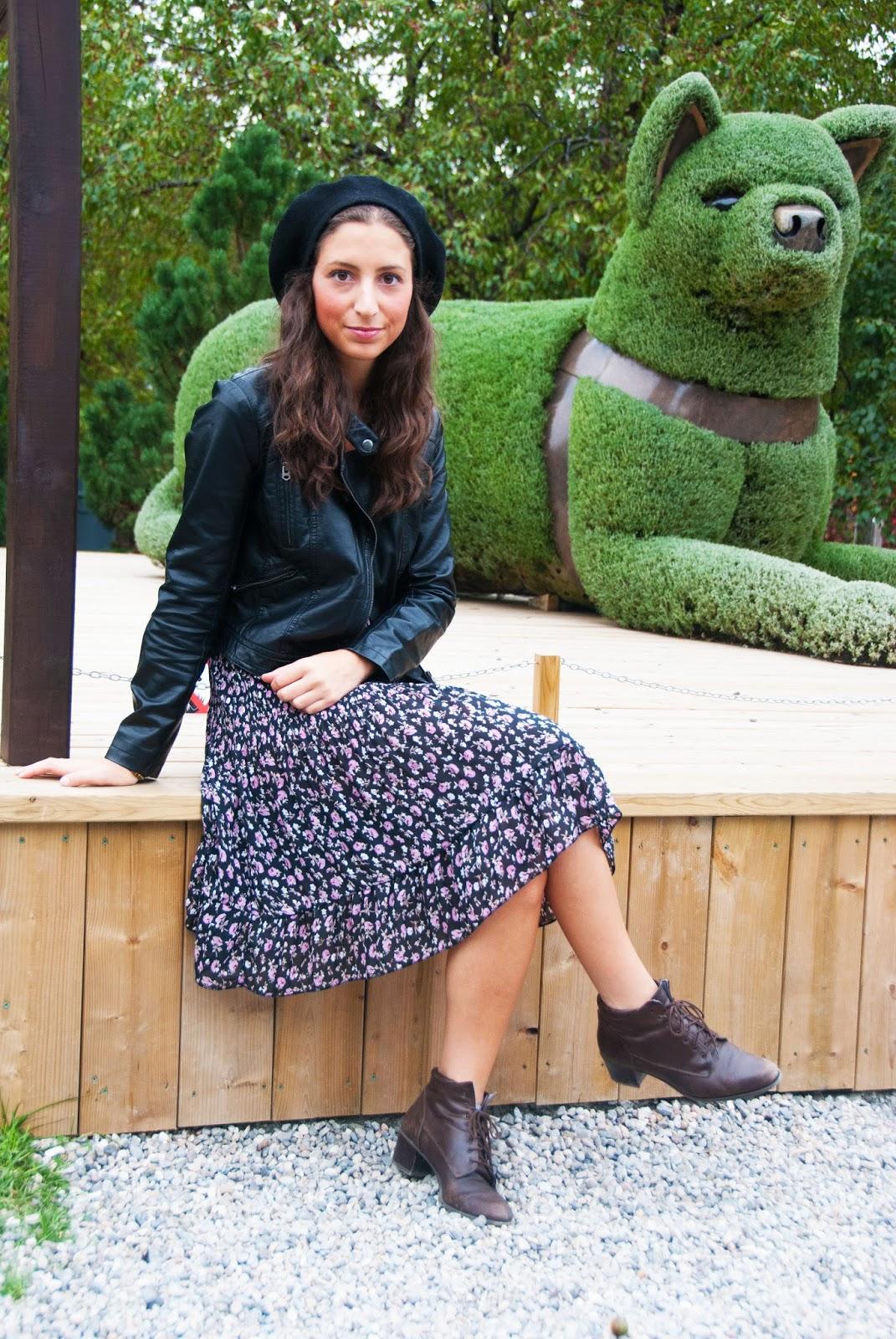 floral dress leather jacket black beret brown booties vintage horticultural sculptures fashion botanical gardens