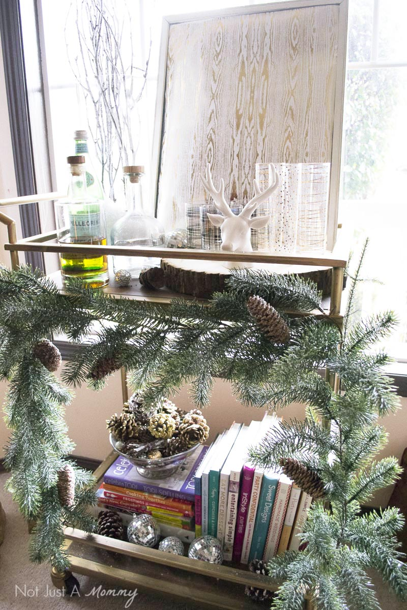 How To Decorate Your Home For The Holidays With Big Lots; festive bar cart