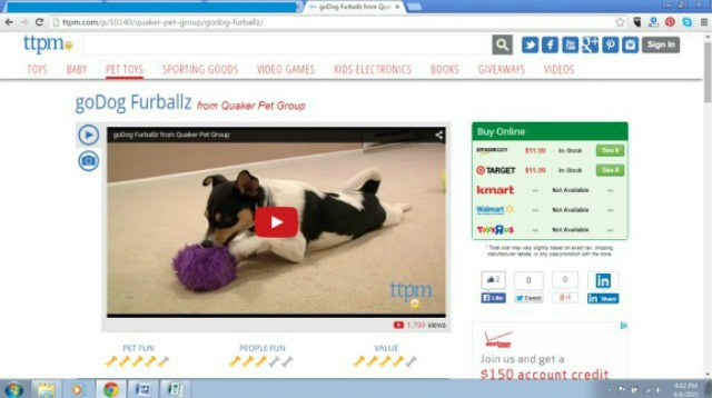TTPM pet toy reviews also include one-click purchase and product availability feature