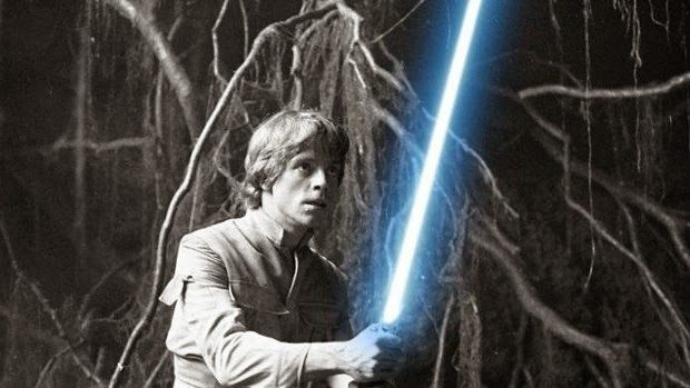 Luke Skywalker's blue lightsaber in Dagobah from Star Wars