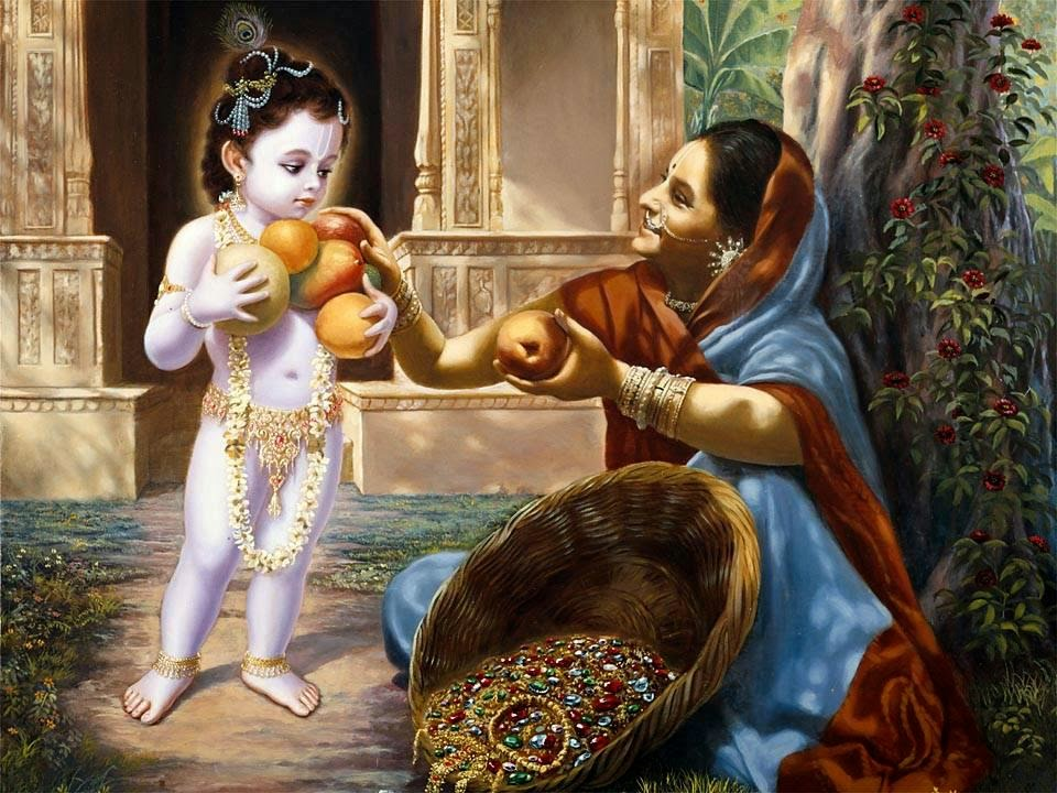 Lord Krishna's mercy on poor fruit seller
