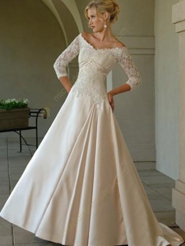 Big shark off the shoulder lace wedding dress